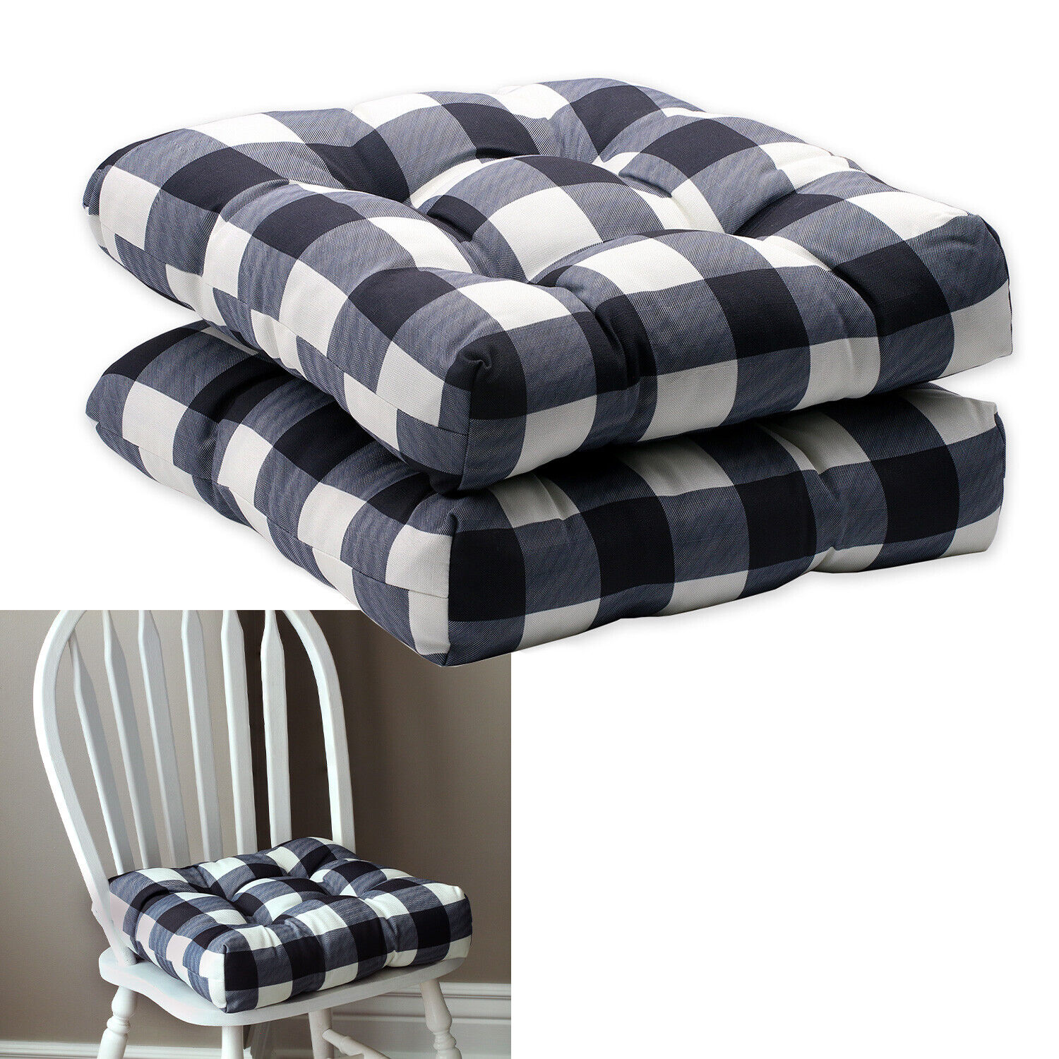 2-Pack Buffalo Check Kitchen Dining Chair Pad Seat Cushion with Ties Black White Home & Garden