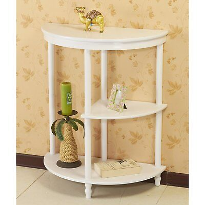 White Half Moon Console Table Living Room Accent Display Side End Furniture Wood