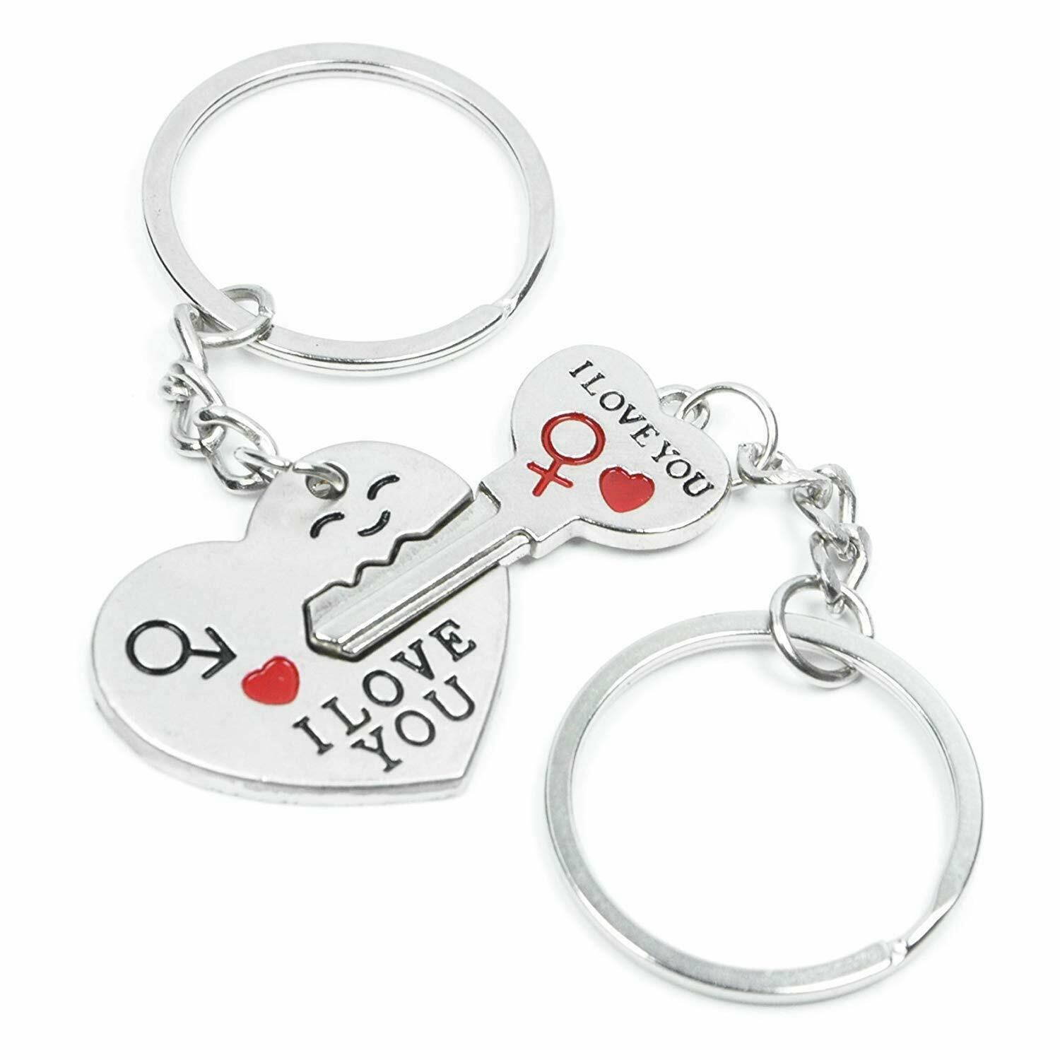 Romantic Couple Keychain Keyring Keyfob Valentine's Day Lover Gift Heart Key Set Collectibles