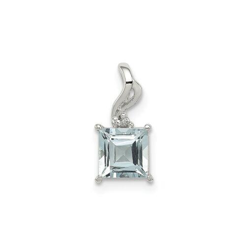 6 Mm Véritable Aigue-marine 1 Ct Coeur /& Diamant Pendentif en argent sterling .925