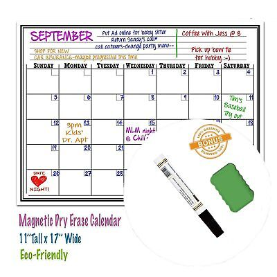 17 X 11 Monthly Dry Erase Magnetic Refrigerator Calendar Message White Board
