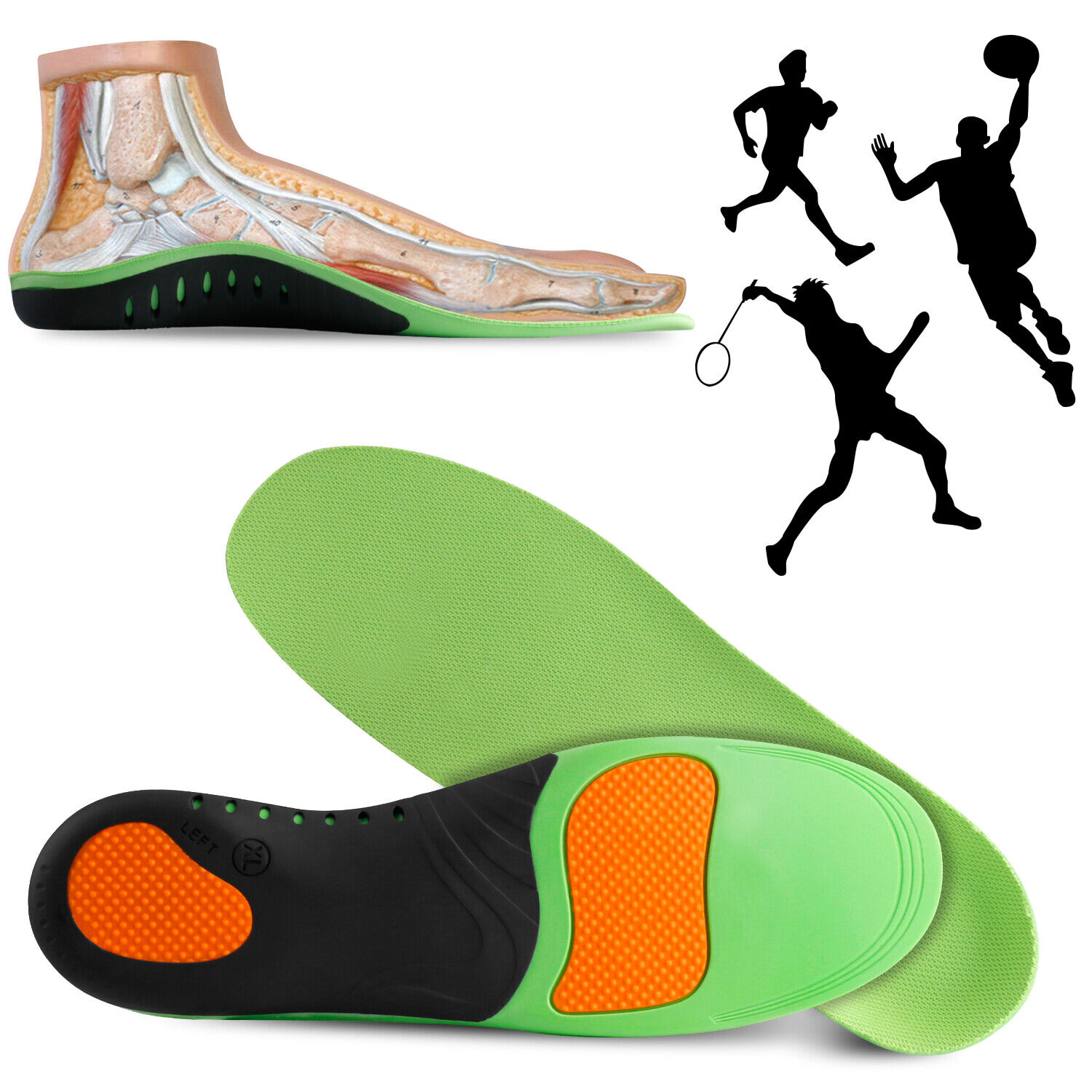 Orthotic Shoe Insoles Arch Support Inserts Plantar Fasciitis