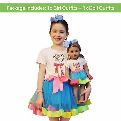 Rainbow Dresses For Toddlers (Doll Matching Outfit Rainbow Tutu Lollipop for Toddler Age 4-6 Girl &American)