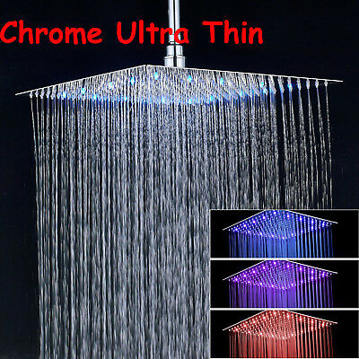 Hotelspa 16 Inch Stainless Steel Square Rainfall Shower Head Led Color Changing