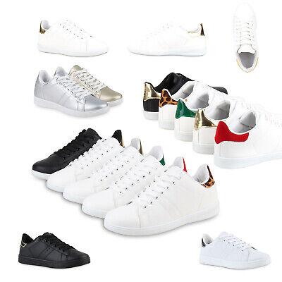 Sportliche Damen Sneakers Low Turnschuhe Flats Schnürer 78509 Retro Schuhe