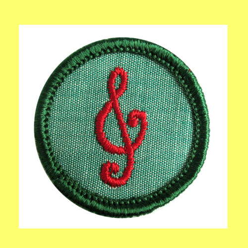 MUSICIAN 1960-62 ONLY Intermediate Girl Scout BADGE Patch Treble Clef, Combine