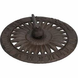 Bird Sundial Ornament Cast Iron Garden Feature Statue Sunflower Clock Metal
