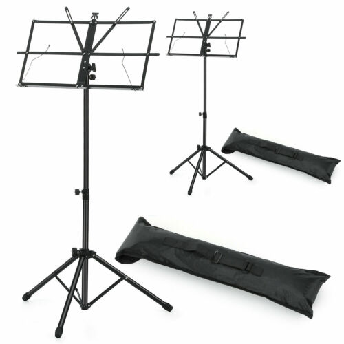 2-Pack Adjustable Folding Music Stand Black with Carrying Bag Black, 2 Stands