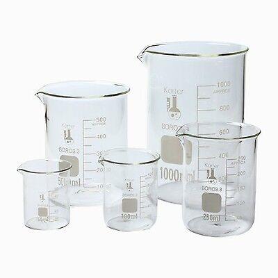 5 Graduated Glass Beaker Set. Chemistry Lab Measuring Cup 50 100 250 500 1000 ml