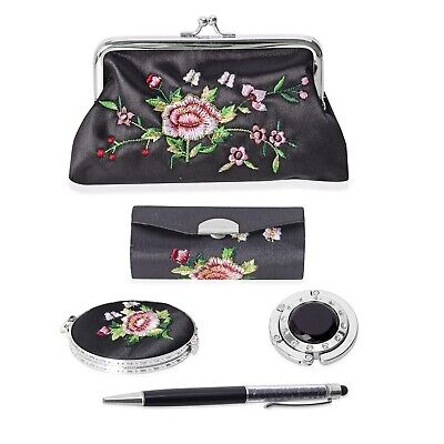 Compact Mirror Lipstick Case with Mirror Coin Purse Bag Holder Hook Pen with Ink