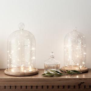 Cloche en verre d corative avec 20 micro led blanc chaud for Cloche verre decorative