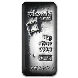 1 Kilo Silver Bar Valcambi Poured W Assay Sku 86730