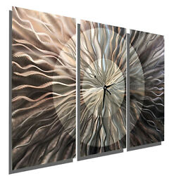 Gorgeous GREY Large Metal Wall Clock Art - Abstract Modern Triptych Wall Clock