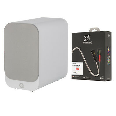 Q Acoustics 3010i Bookshelf Speaker Pair White + QED Silver Anniversary XT Cable for sale  Atlanta