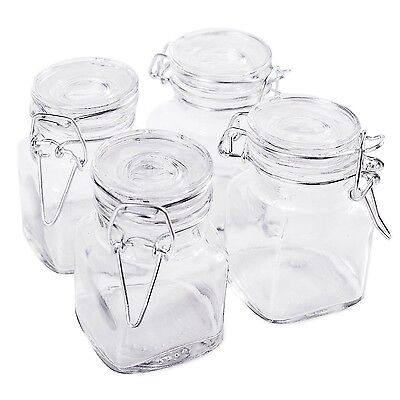 """3 1/4"""" Square Glass 3oz Jar with Hinge Glass Lid for Home Kitchen, Arts & Cra..."""