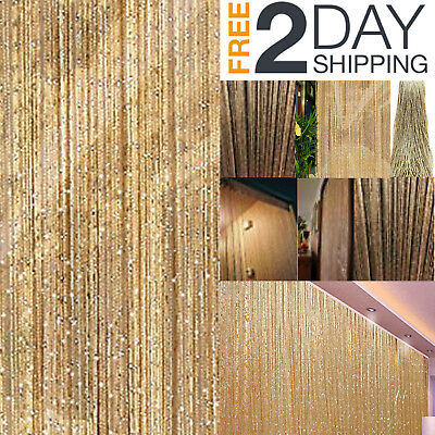 DOOR String CURTAIN Rare Crystal Beads Window Panel Fringe Patio Room Divider ()