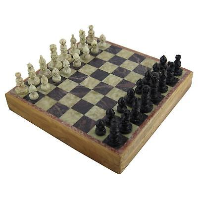 10 Inch Handmade Stone Chess Set Board with Wood Box Mind / Brain Outdoor Game - Handmade Chess Boards