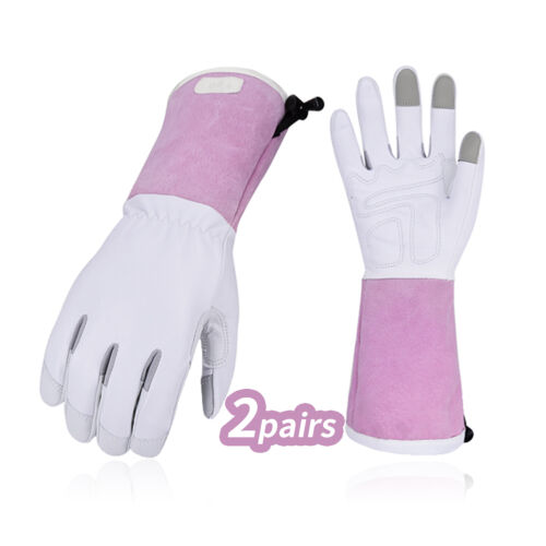 Vgo 1/2 Pairs Goat Leather Extra-Long Cuff Thornproof Gardening Gloves (GA1013)