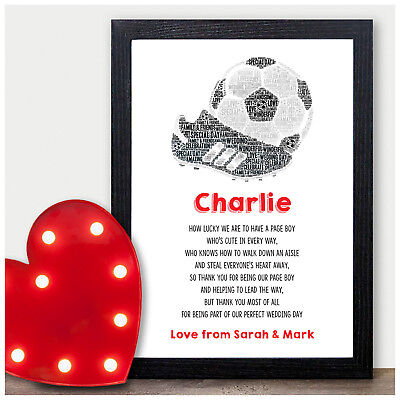 Page Boys Thank You Gifts Page Boy Usher Best Man Wedding Football Poem