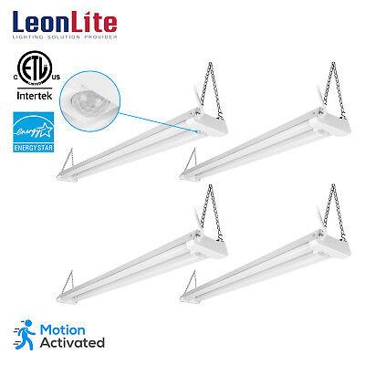 4 Pack 4ftLED Shop Lights Motion Activated Utility Shop Light for Garage, 4000K (Motion Pendant Light)