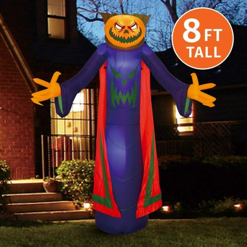 NEW LOOK!! Joiedomi Halloween 8 FT Inflatable Pumpkin Wizard with Build-in LEDs