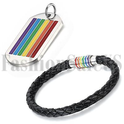 Rainbow Leather Bracelet Lesbian/Gay Pride LGBT Pendant Necklace Dog Tag Chain - Gay Pride Necklace
