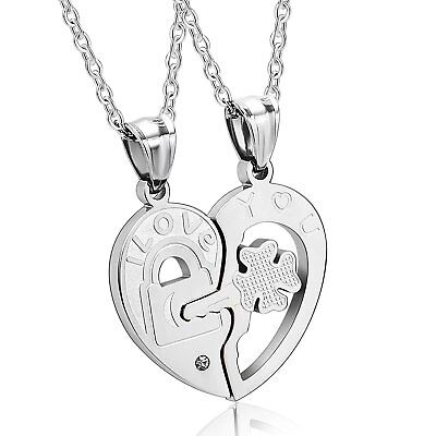 - His and Hers Stainless Steel I Love You Heart Lock & Key Couple Pendant Necklace