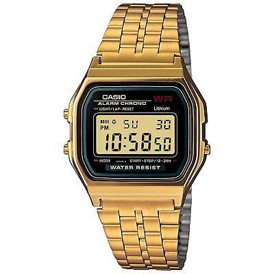 Casio A159WGEA-1 Unisex Gold Tone Stainless Steel Digital Vintage Retro Watch