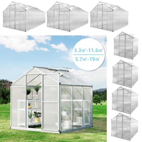Gewächshaus Treibhaus Gartenhaus Glashaus Polycarbonat mit Fundament 3m²-11,5m²