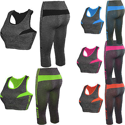 Top-set Capri (Damen BRA Microfaser Sport-Top +Capri-leggings Sport-Set Training Set Zweiteiler)