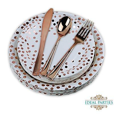 125 PCS Rose Gold Dot plates and Rose gold plastic Silverware!](Pink Plates)