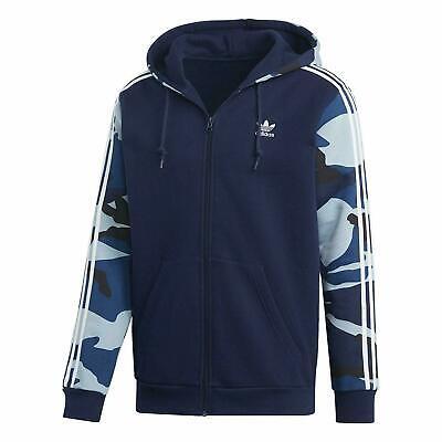 Adidas Mens Camouflage Hoodie 3 Stripe Zip Through Hoodie