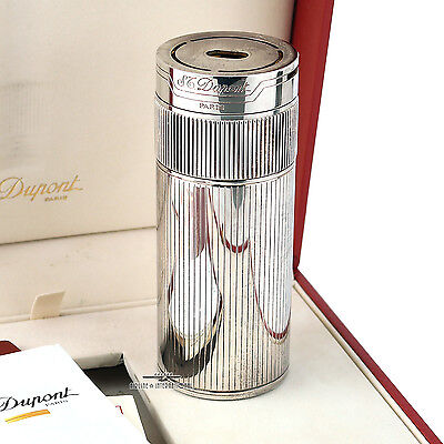 Vintage S.T Dupont Silver Cylindrical Table Lighter
