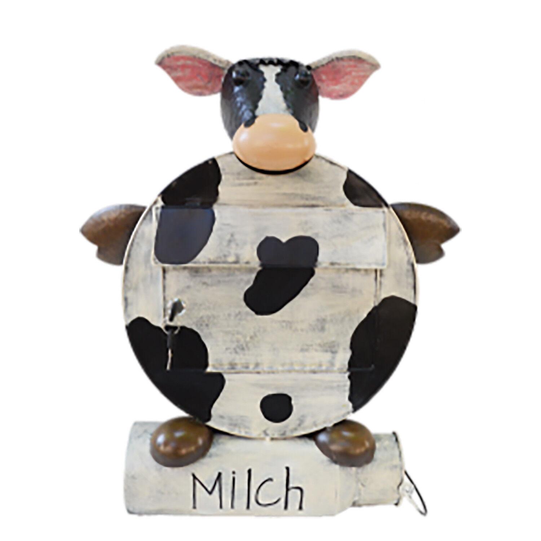 """Deko-Briefkasten """"ERNA"""", Motiv: Kuh mit Zeitungsrolle in Form einer Milchkanne"""