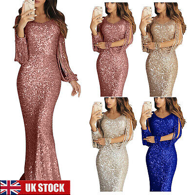 UK Womens Sequin Long Ball Gown Ladies Bodycon Evening Cocktail Party Dress