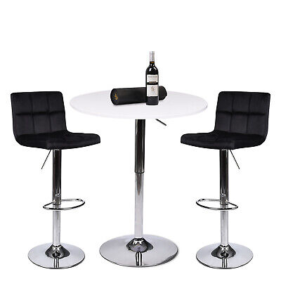 3 Piece Dining Set Pub Table with 2 Bar Stools Counter Height Adjustable Kitchen 3 Piece Chrome Bar
