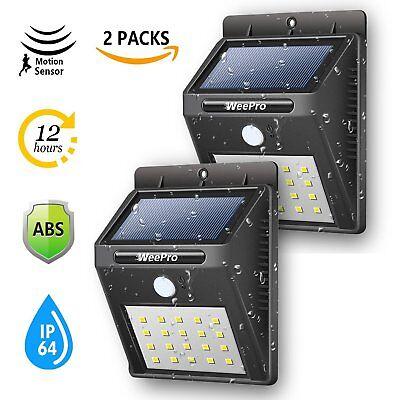 2X20 LED Solar Power Motion Sensor Garden Security Lamp Outdoor Waterproof Light
