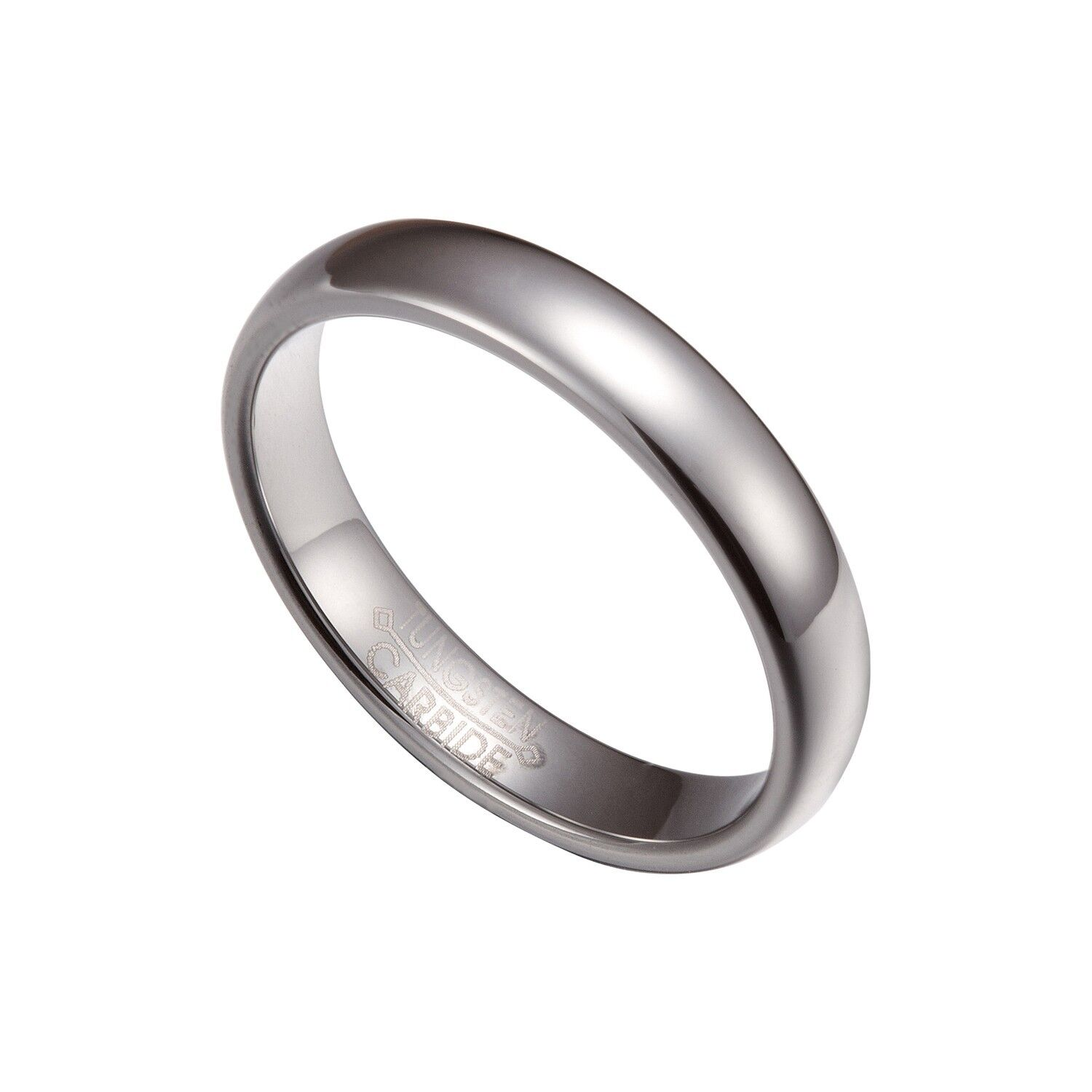 Silver Tungsten Carbide 4mm Comfort Fit Plain Rings