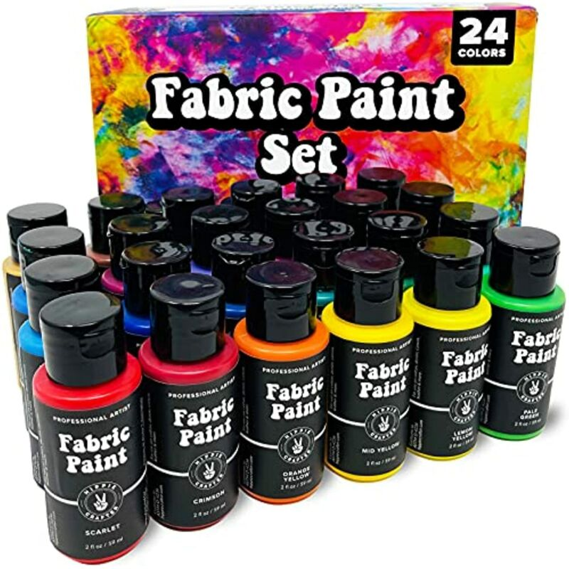 24 Fabric Paint Set for Clothes Upholstery Shoe Sneaker Denim Permanent Paints
