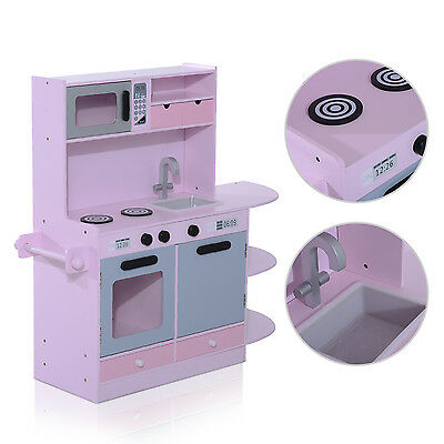 Wood Kids Kitchen Toy Cooking Pretend Play Set Toddler Wooden Playset Gift New