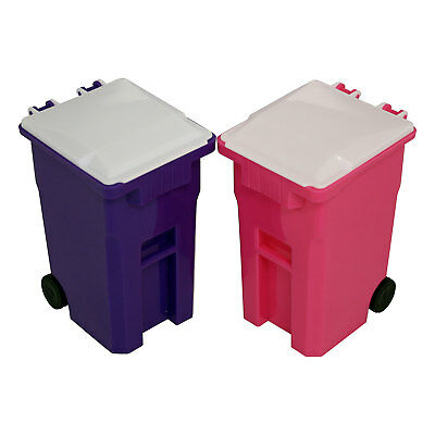 Mini Curbside Trash and Recycle Can Set Desk Pencil Cup Holder - Pink/Purple - Purple Office Supplies