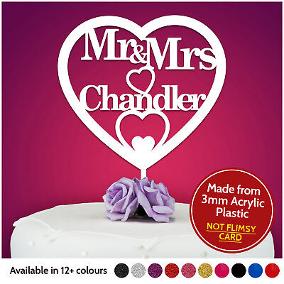 Personalised Wedding Cake Topper Mr and Mrs Table Decoration Bride Groom Pick - Bride And Groom Table