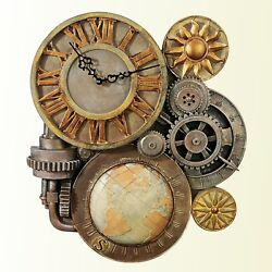 Steampunk Gear Analog Clock Sculpture 17in Home Accent Time Wall Decor Plaque