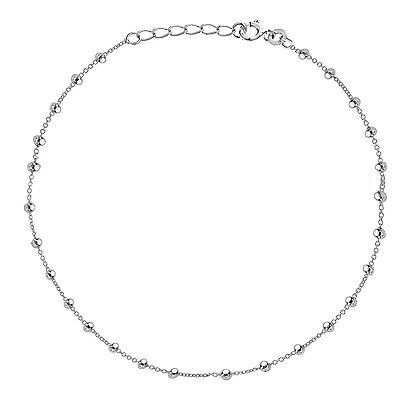 Sterling Silver Shiny Beaded Bead Link Chain Anklet Ankle Bracelet 9 - 10 inches