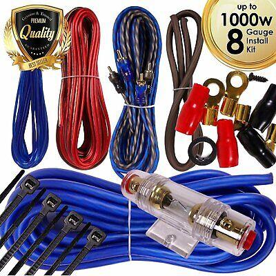 Complete 1000W 8 Gauge Car Amplifier Installation Wiring Kit Amp PK1 8 Ga Blue