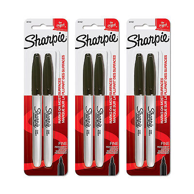 Sharpie Permanent Markers Fine Point Black Ink Pack Of 6