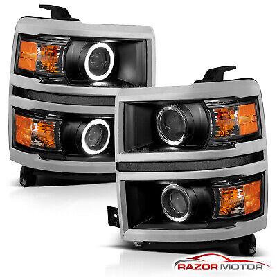 [Dual LED Halo] 2014 2015 Chevy Silverado 1500 Projector Platnum Headlights