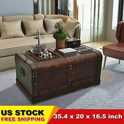 Large Vintage Wooden Treasure Storage Trunk Antique Chest Coffee Table CHIC USA ()