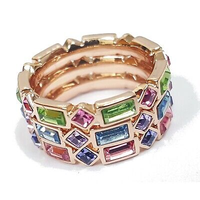 CZ Luxxe Jewelry Crystal-Elements 3 Stack Ring Set 18k Gold Plated - -
