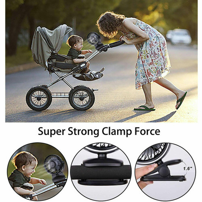 USB Rechargeable Mini Cooling Fan Clip Desk Baby Stroller Portable 3